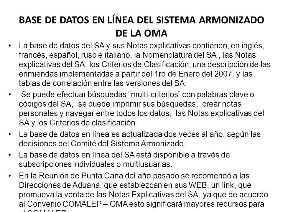 BASE DE DATOS EN LÍNEA DEL SISTEMA ARMONIZADO DE LA OMA