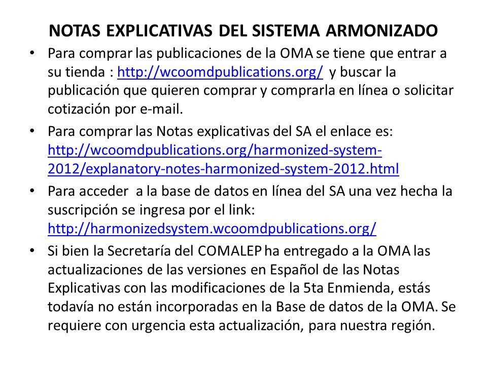 NOTAS EXPLICATIVAS DEL SISTEMA ARMONIZADO
