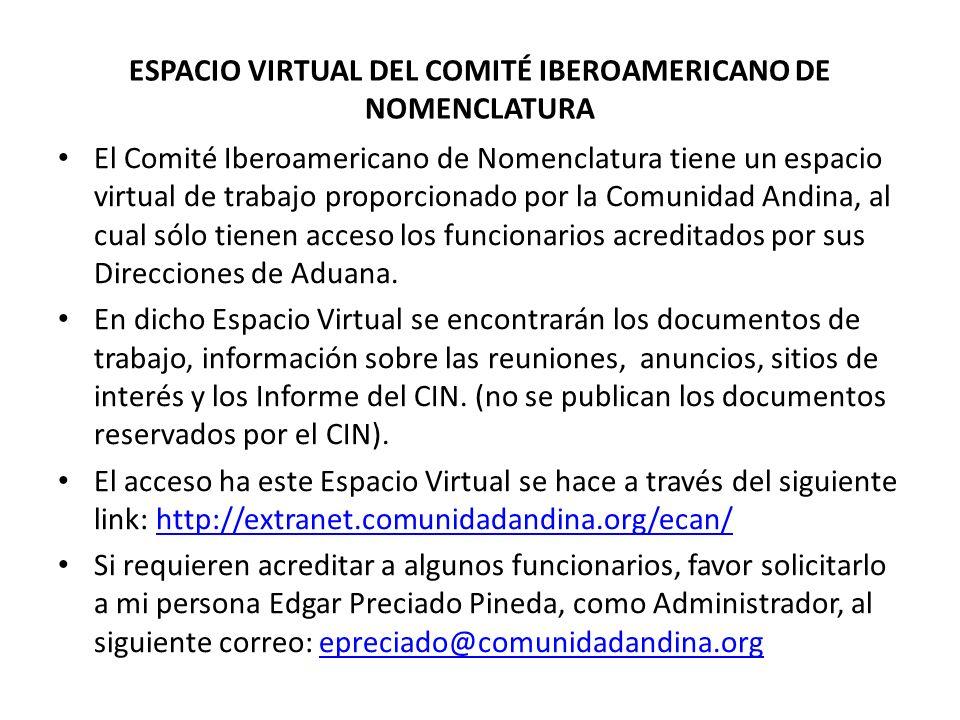 ESPACIO VIRTUAL DEL COMITÉ IBEROAMERICANO DE NOMENCLATURA