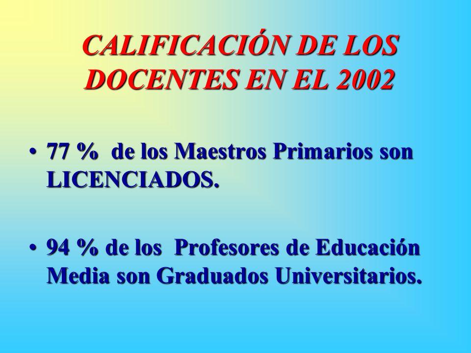 CALIFICACIÓN DE LOS DOCENTES EN EL 2002