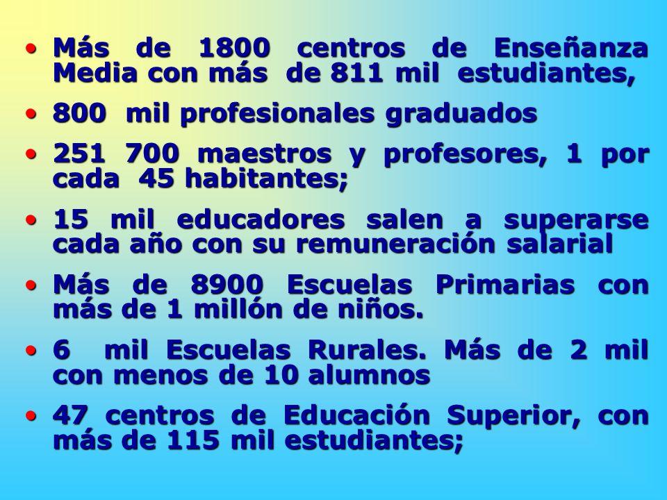 Más de 1800 centros de Enseñanza Media con más de 811 mil estudiantes,
