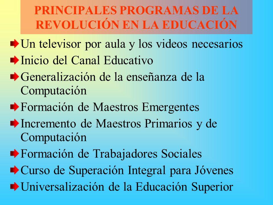 PRINCIPALES PROGRAMAS DE LA REVOLUCIÓN EN LA EDUCACIÓN