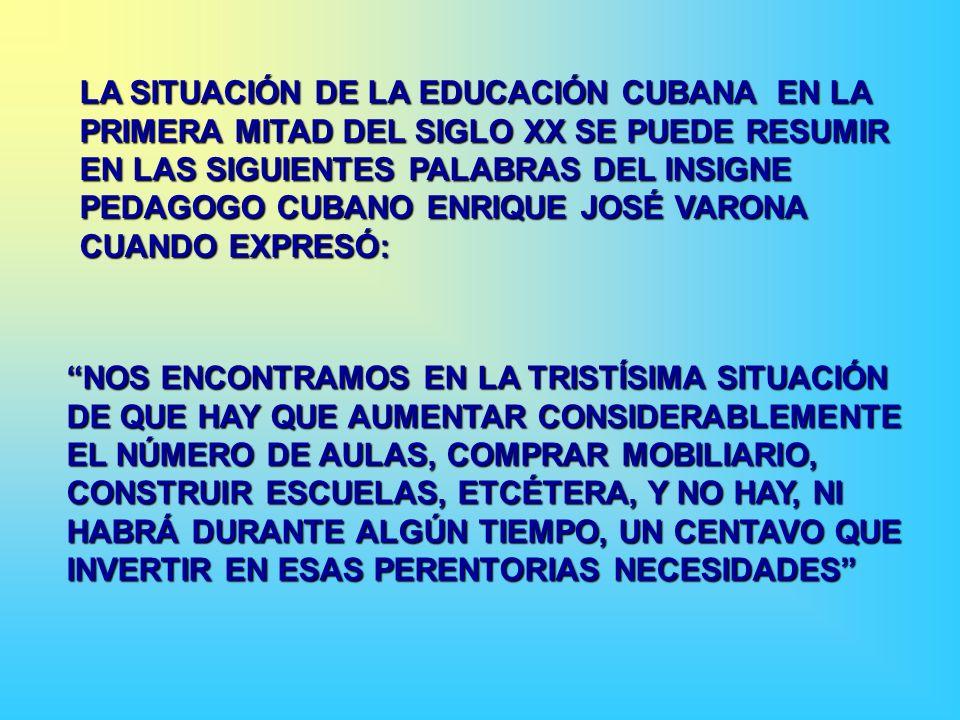 LA SITUACIÓN DE LA EDUCACIÓN CUBANA EN LA