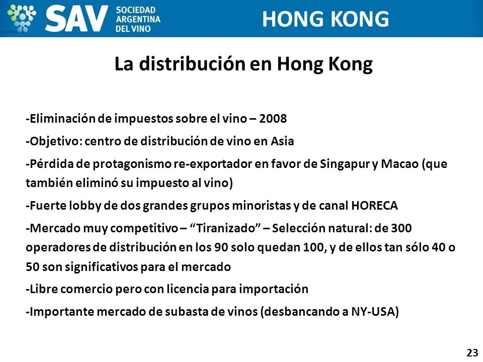 La distribución en Hong Kong