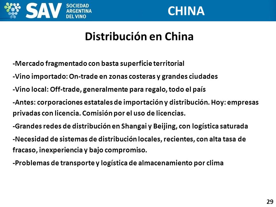 CHINA Distribución en China