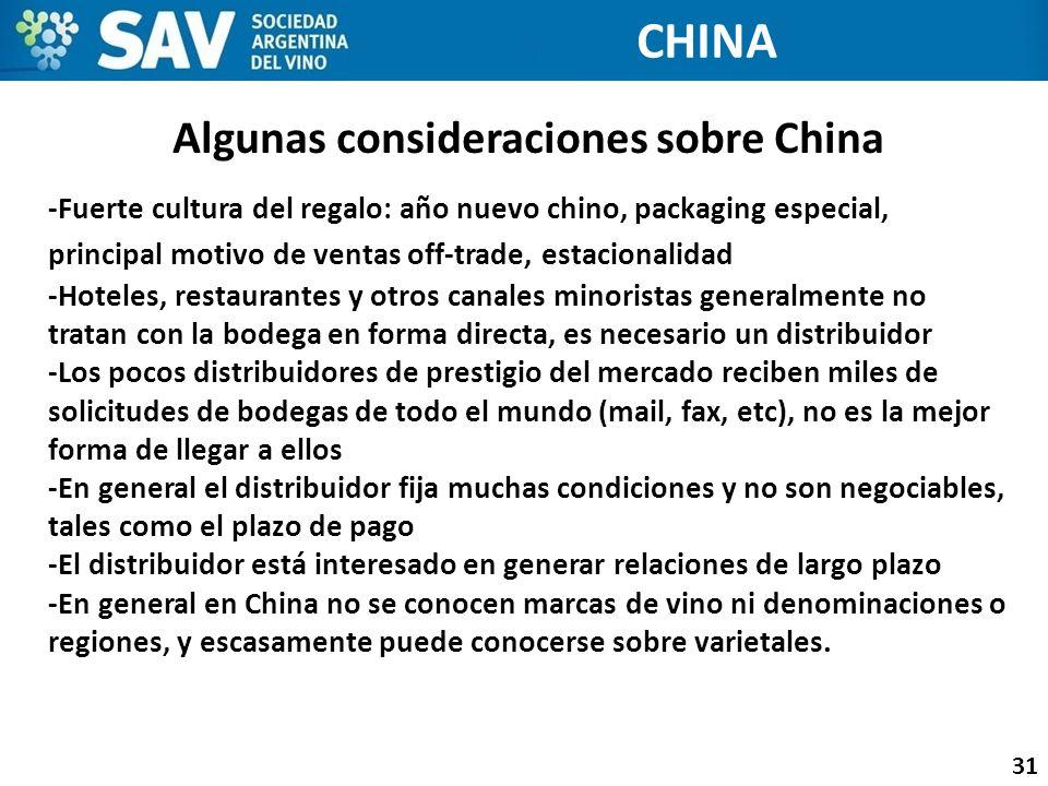 Algunas consideraciones sobre China