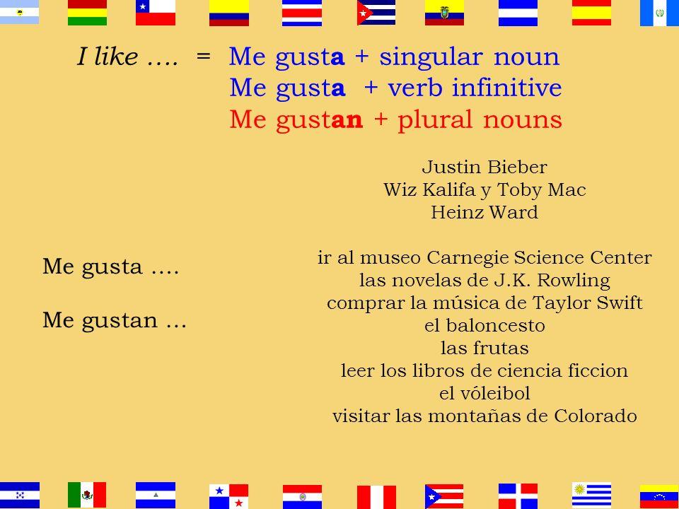 I like …. = Me gusta + singular noun Me gusta + verb infinitive