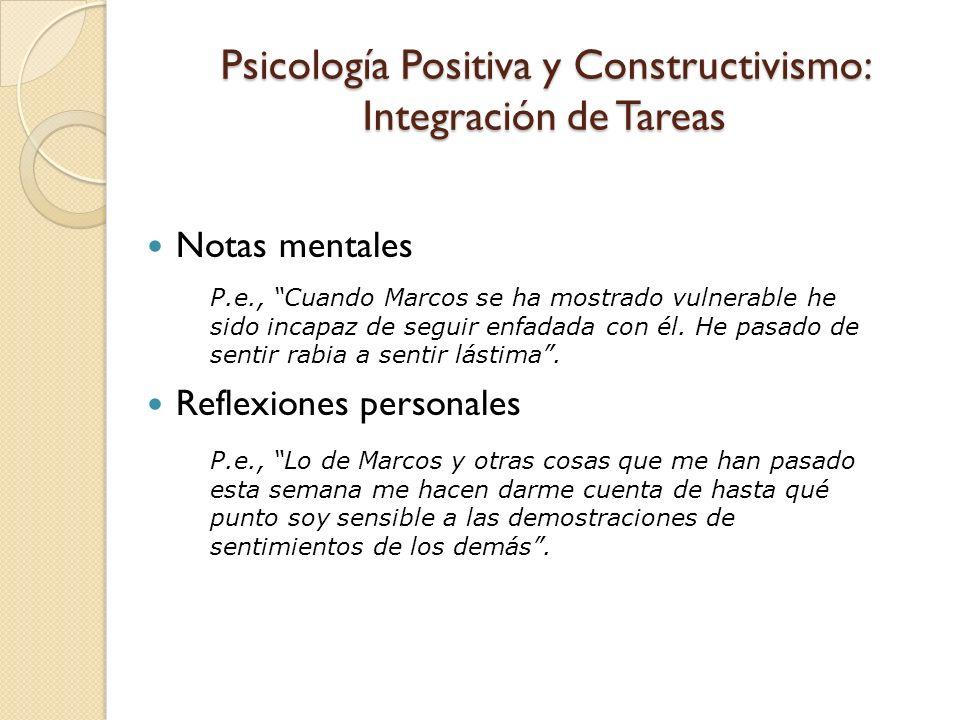 Psicología Positiva y Constructivismo: Integración de Tareas