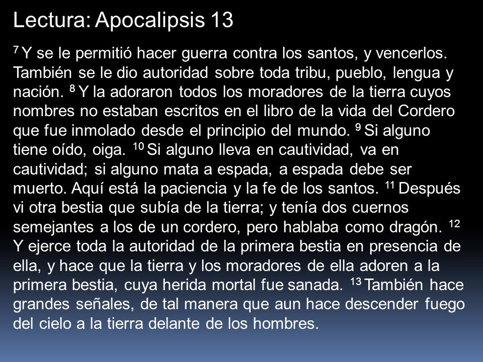 Lectura: Apocalipsis 13
