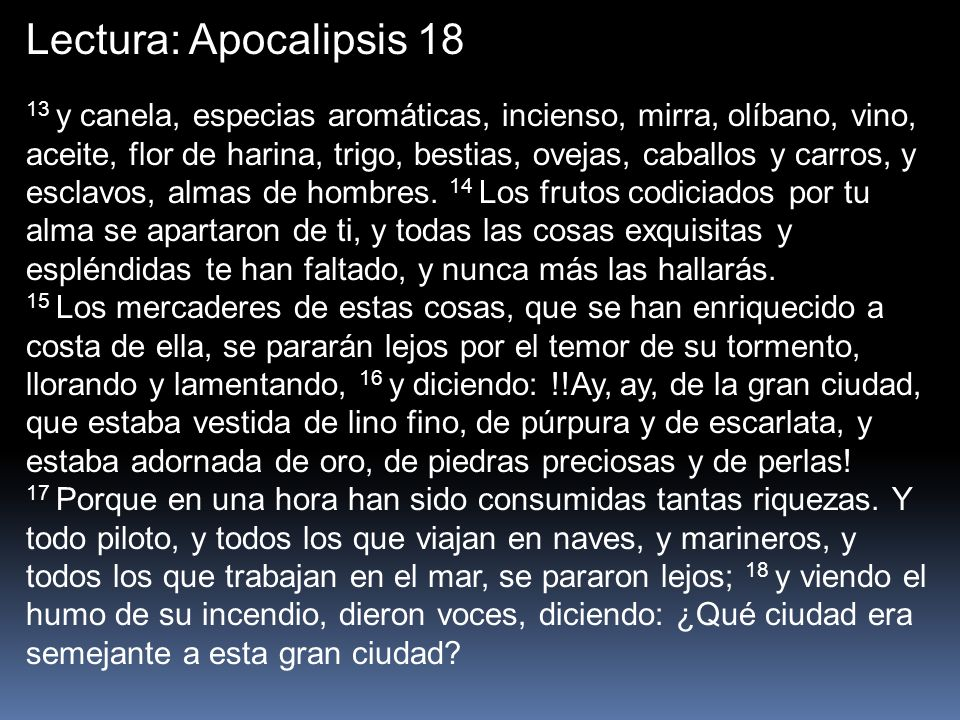 Lectura: Apocalipsis 18