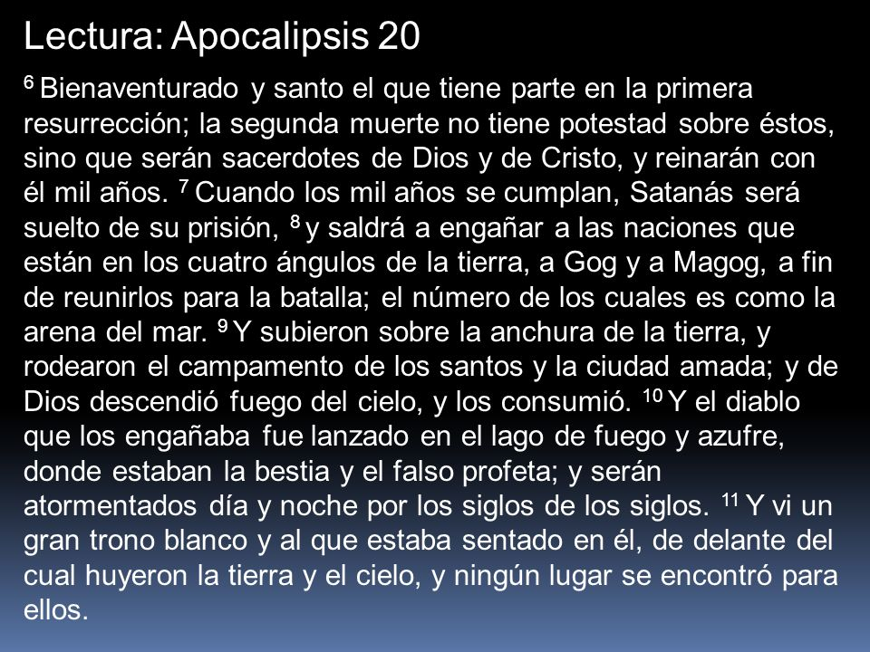 Lectura: Apocalipsis 20
