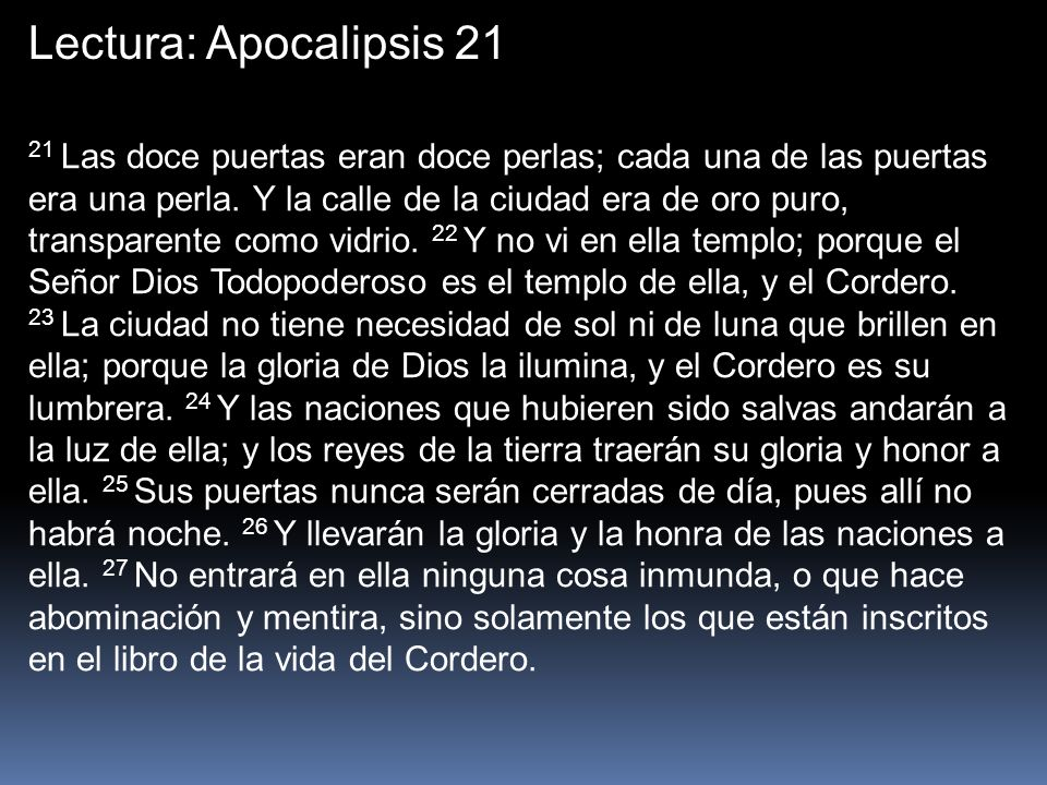 Lectura: Apocalipsis 21