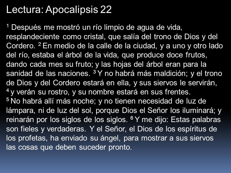 Lectura: Apocalipsis 22