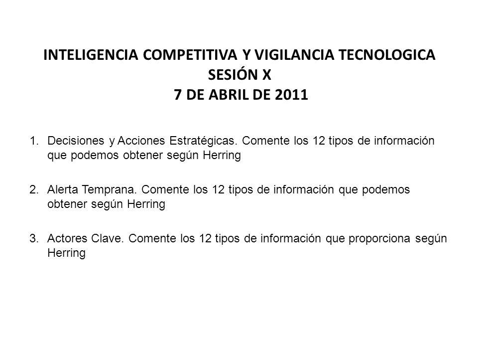 INTELIGENCIA COMPETITIVA Y VIGILANCIA TECNOLOGICA Sesión x 7 de abril de 2011