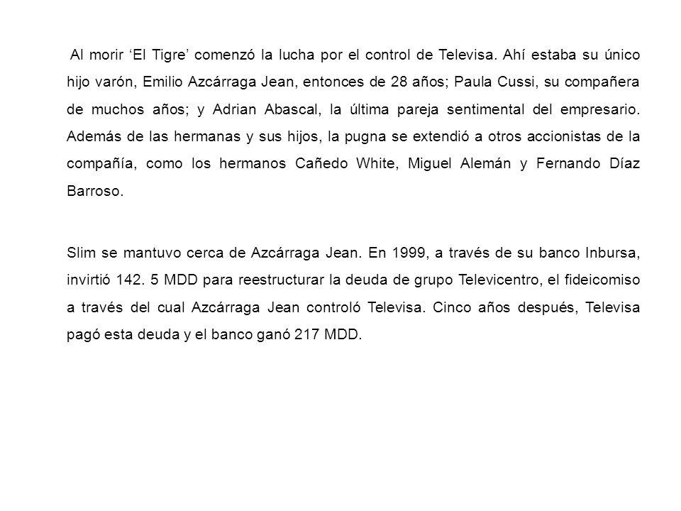 Al morir 'El Tigre' comenzó la lucha por el control de Televisa
