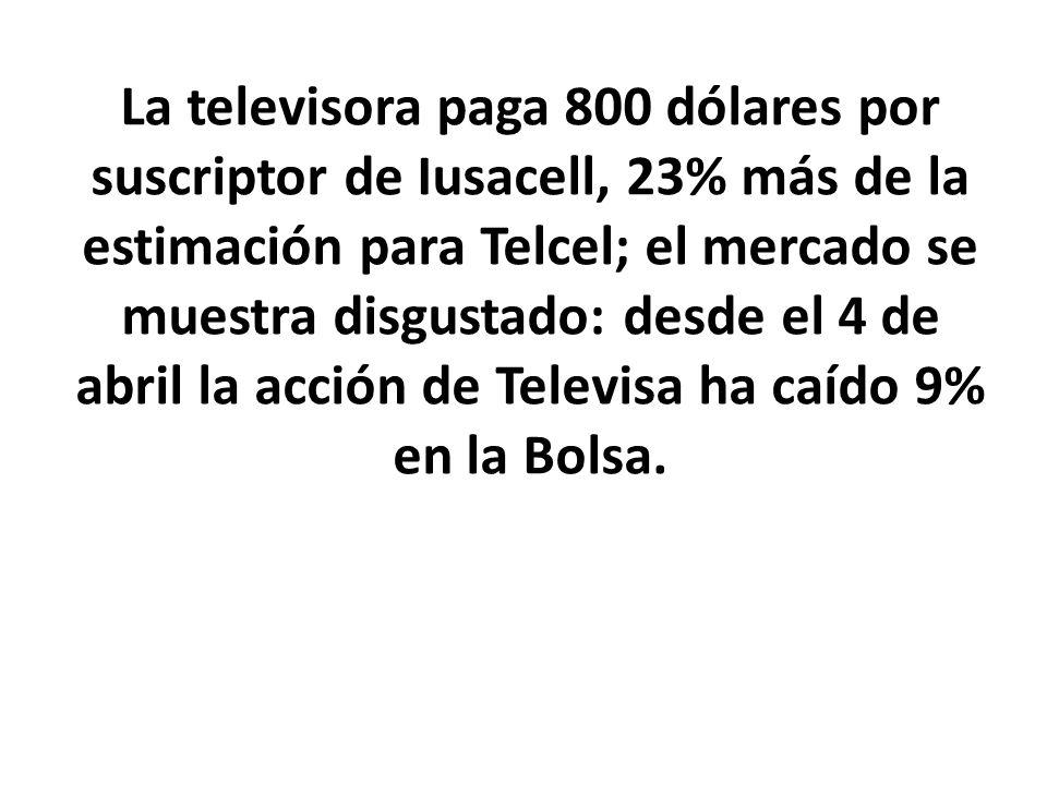 La televisora paga 800 dólares por suscriptor de Iusacell, 23% más de la estimación para Telcel; el mercado se muestra disgustado: desde el 4 de abril la acción de Televisa ha caído 9% en la Bolsa.