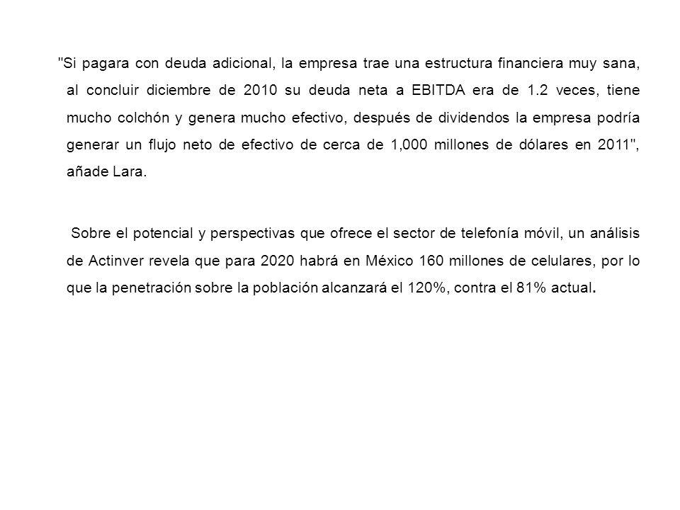 Si pagara con deuda adicional, la empresa trae una estructura financiera muy sana, al concluir diciembre de 2010 su deuda neta a EBITDA era de 1.2 veces, tiene mucho colchón y genera mucho efectivo, después de dividendos la empresa podría generar un flujo neto de efectivo de cerca de 1,000 millones de dólares en 2011 , añade Lara.