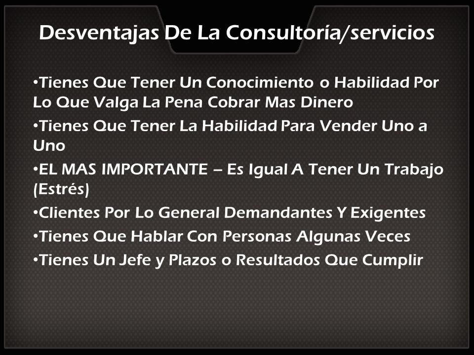 Desventajas De La Consultoría/servicios