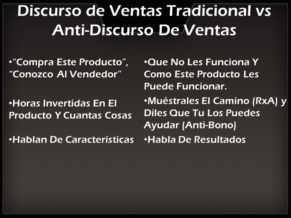 Discurso de Ventas Tradicional vs Anti-Discurso De Ventas