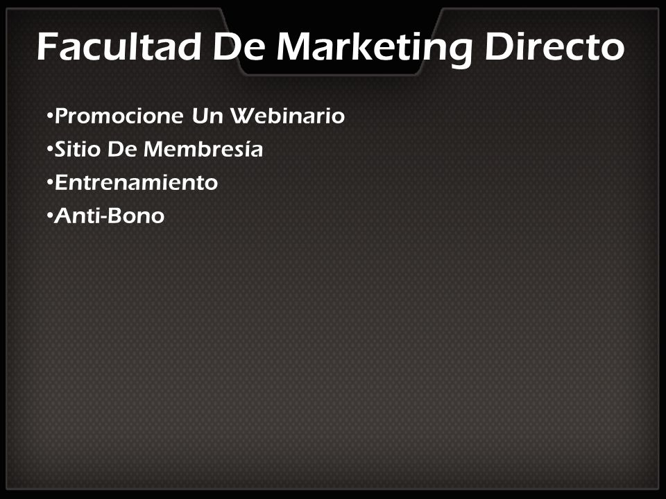 Facultad De Marketing Directo