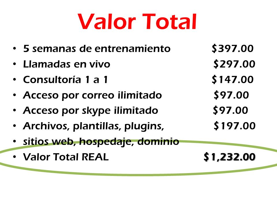Valor Total 5 semanas de entrenamiento $397.00