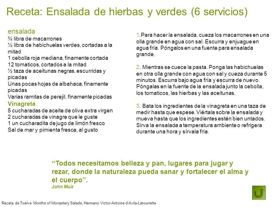 Receta: Ensalada de hierbas y verdes (6 servicios)