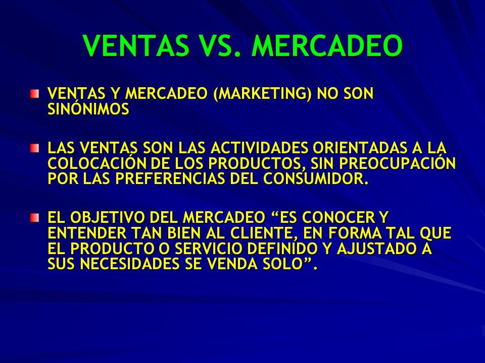 VENTAS VS. MERCADEO VENTAS Y MERCADEO (MARKETING) NO SON SINÓNIMOS