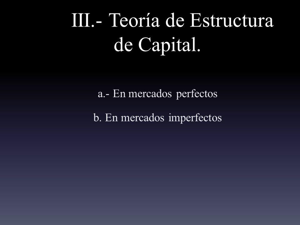 III.- Teoría de Estructura de Capital.