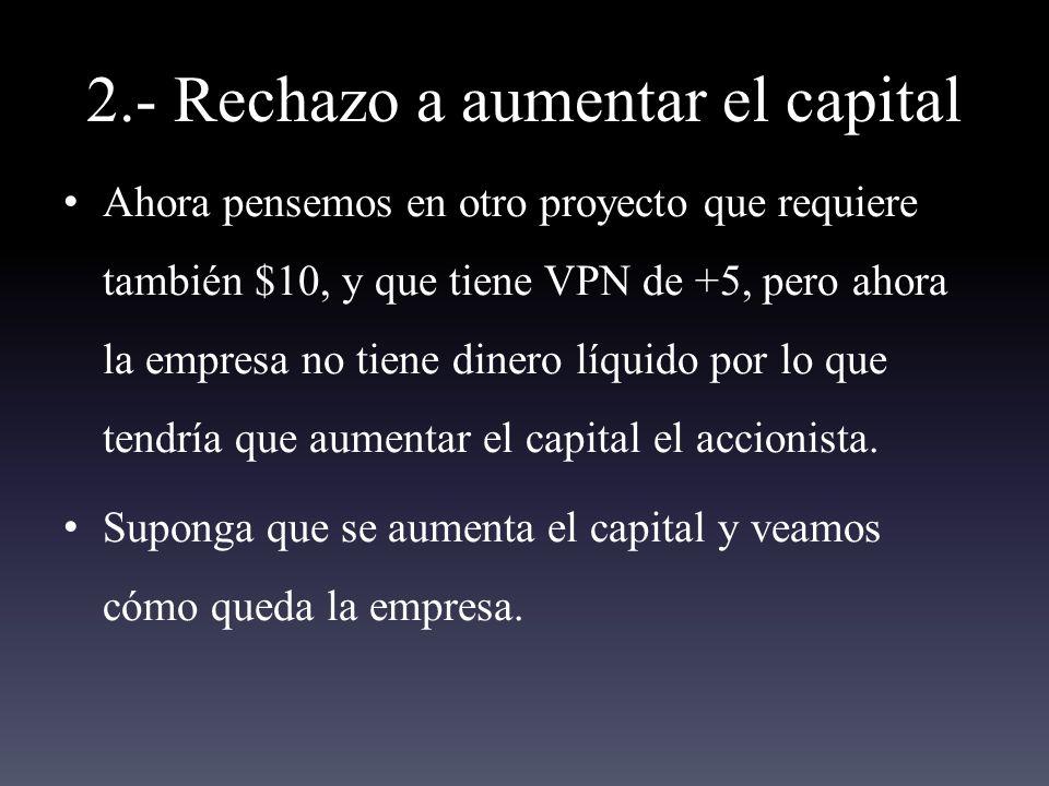 2.- Rechazo a aumentar el capital