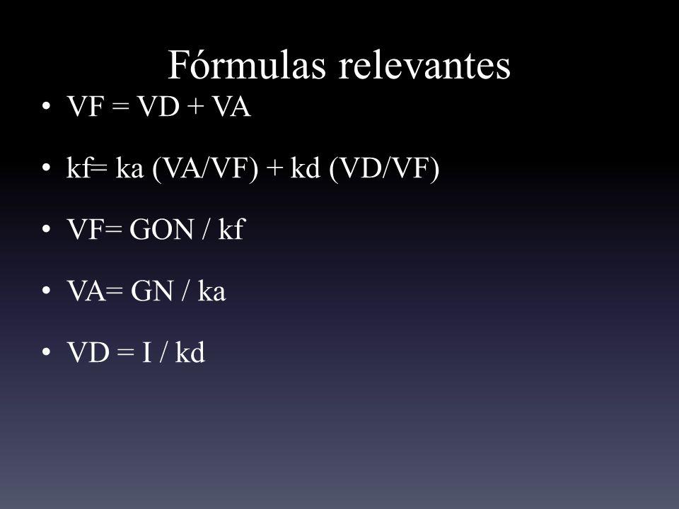 Fórmulas relevantes VF = VD + VA kf= ka (VA/VF) + kd (VD/VF)