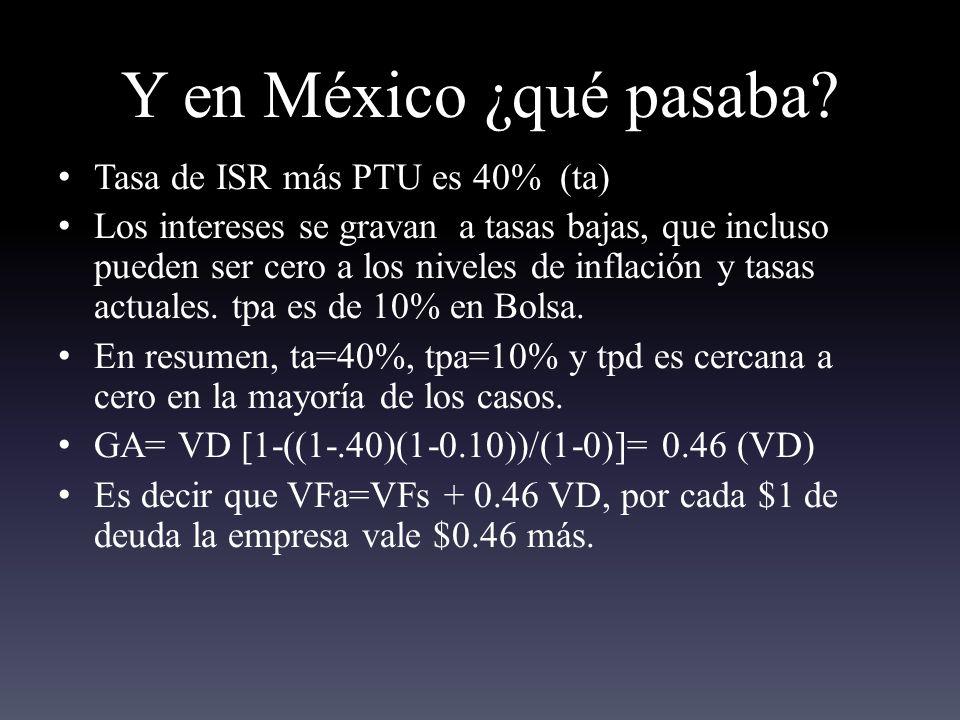 Y en México ¿qué pasaba Tasa de ISR más PTU es 40% (ta)