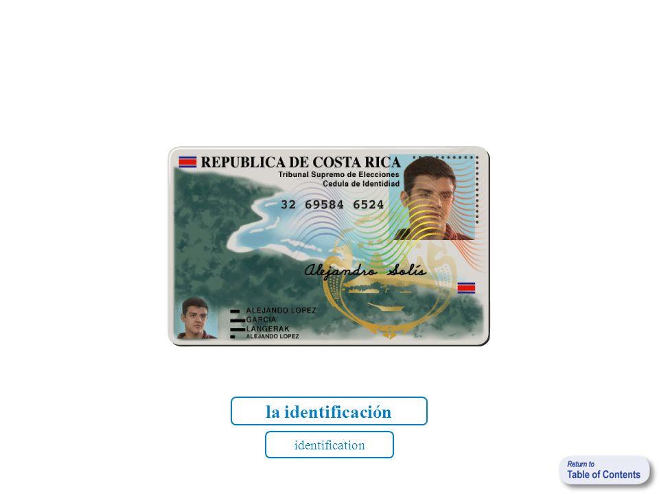 la identificación identification