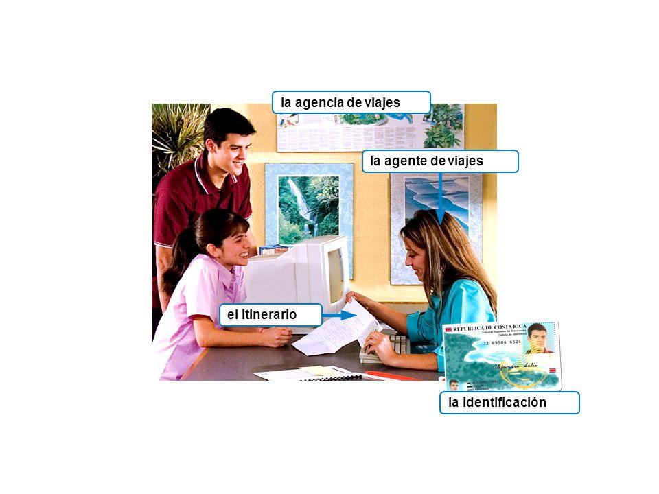 la agencia de viajes la agente de viajes el itinerario la identificación