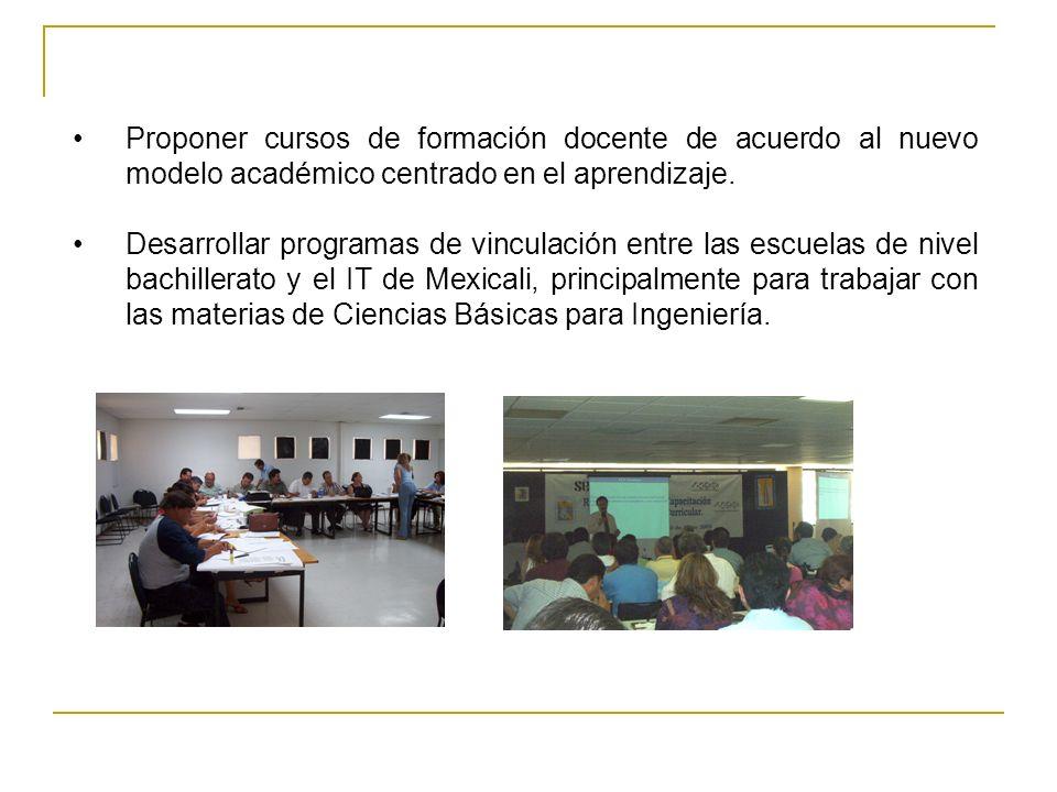 Proponer cursos de formación docente de acuerdo al nuevo modelo académico centrado en el aprendizaje.