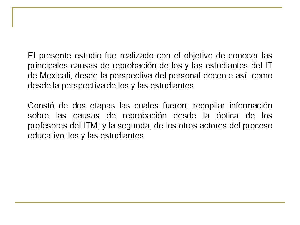 El presente estudio fue realizado con el objetivo de conocer las principales causas de reprobación de los y las estudiantes del IT de Mexicali, desde la perspectiva del personal docente así como desde la perspectiva de los y las estudiantes