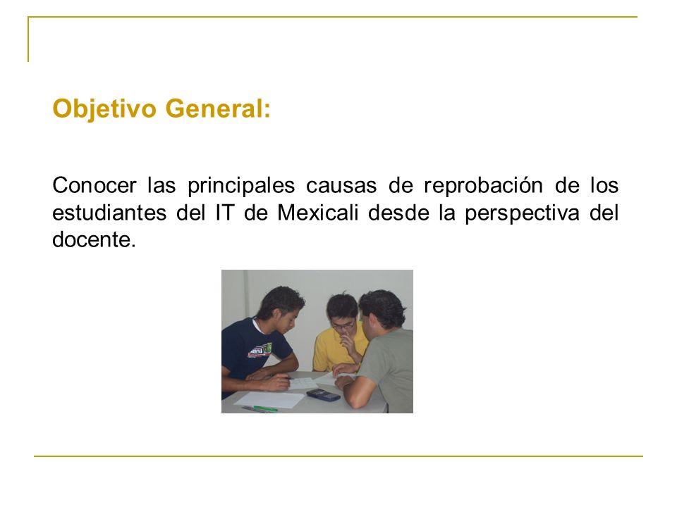 Objetivo General: Conocer las principales causas de reprobación de los estudiantes del IT de Mexicali desde la perspectiva del docente.