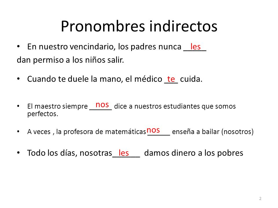 Pronombres indirectos