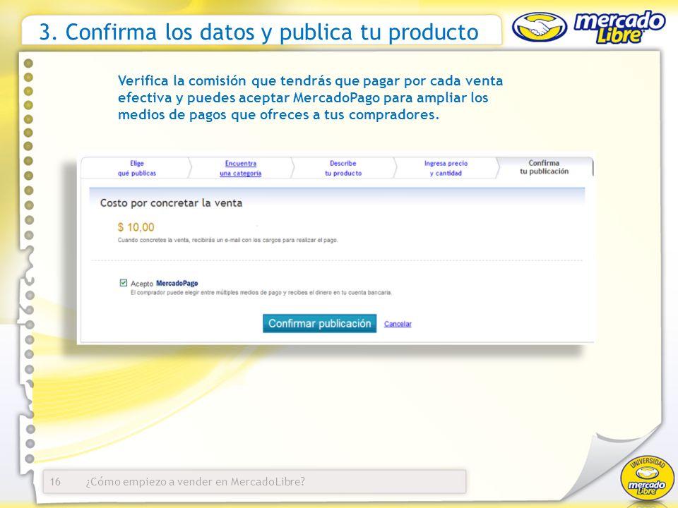 3. Confirma los datos y publica tu producto