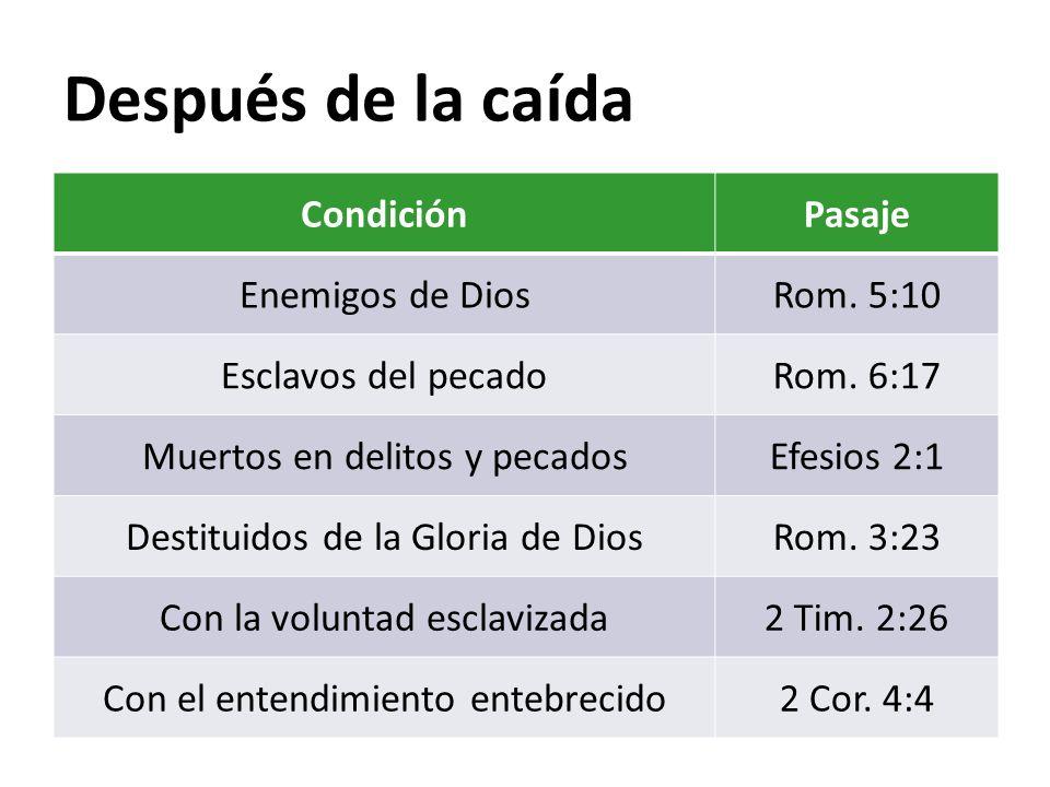 Después de la caída Condición Pasaje Enemigos de Dios Rom. 5:10