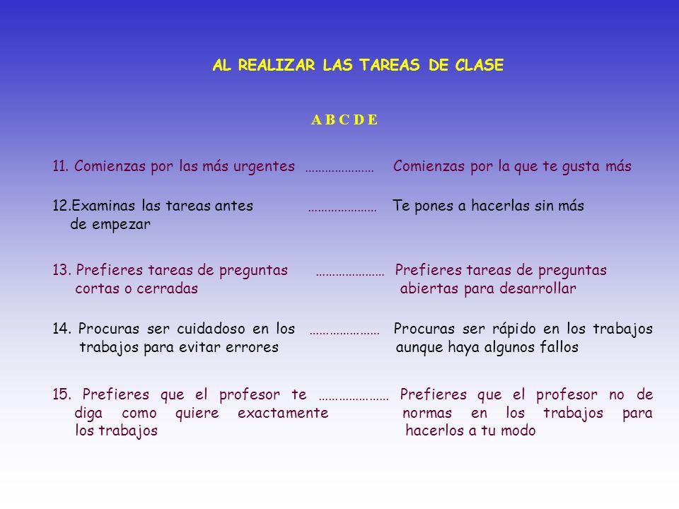 AL REALIZAR LAS TAREAS DE CLASE