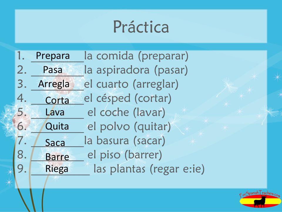 Práctica _________la comida (preparar) _________la aspiradora (pasar)