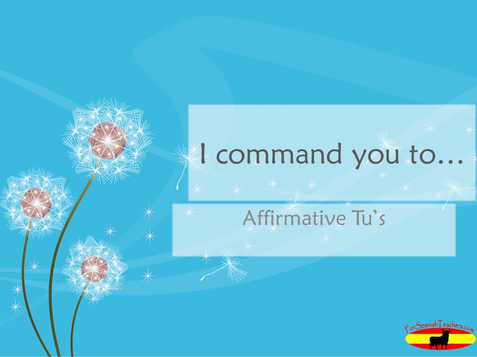 I command you to… Affirmative Tu's