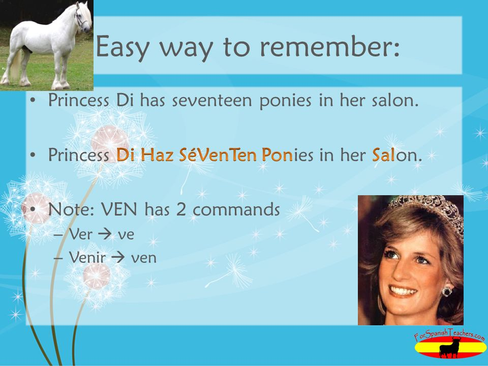 Easy way to remember: Princess Di has seventeen ponies in her salon.