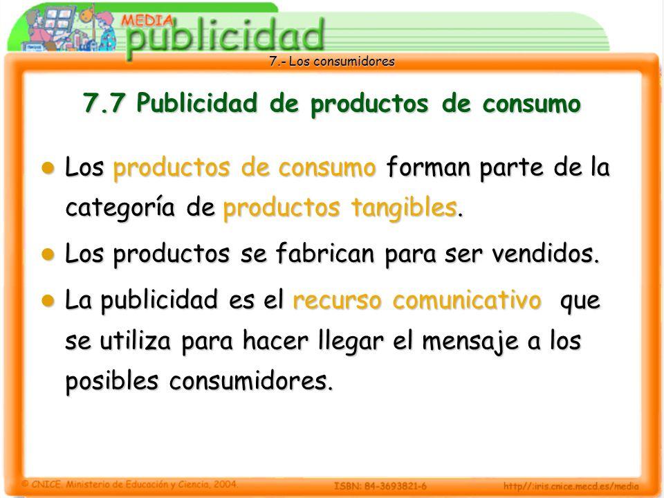 7.7 Publicidad de productos de consumo