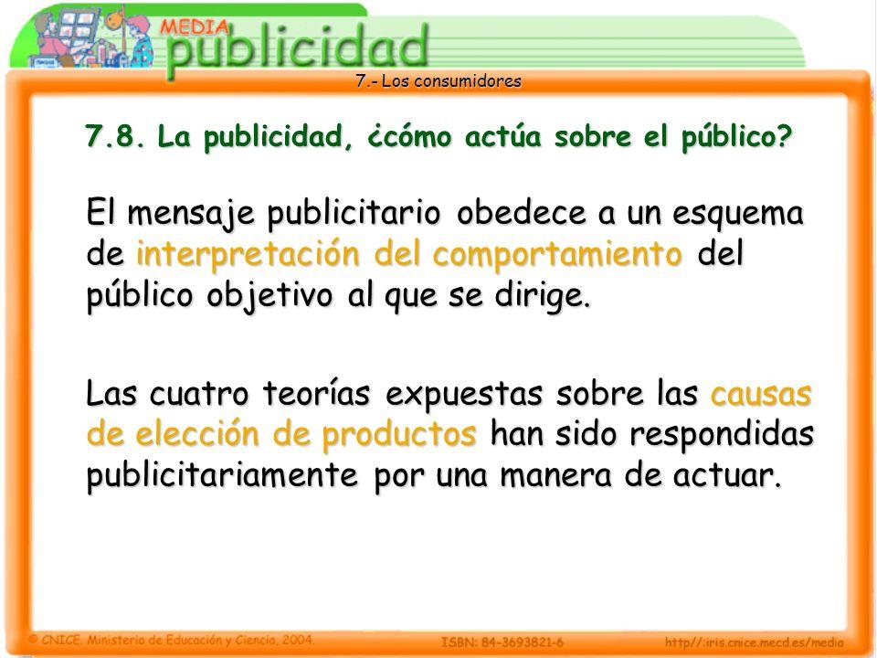 7.8. La publicidad, ¿cómo actúa sobre el público