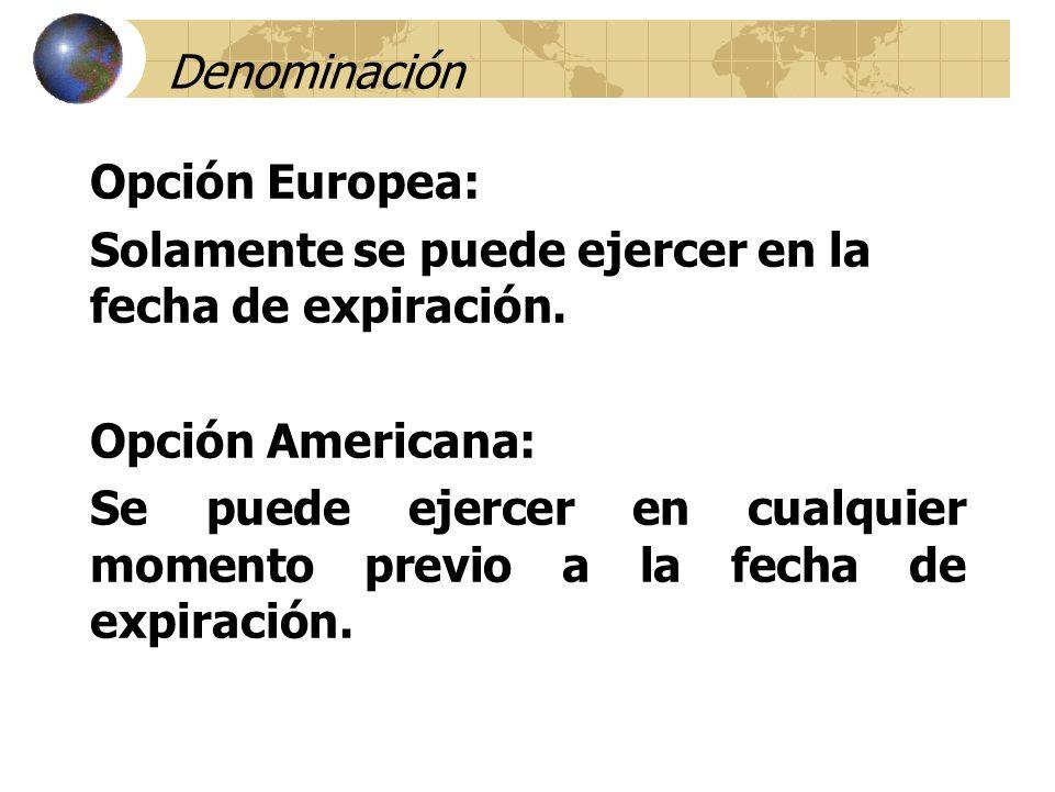 Denominación Opción Europea: