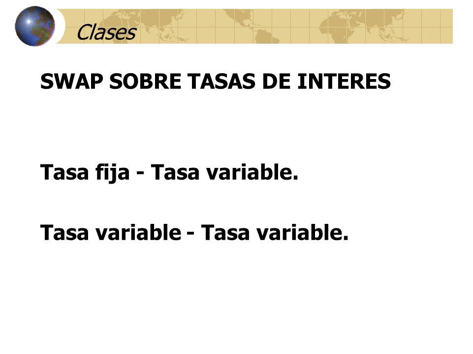 Clases SWAP SOBRE TASAS DE INTERES Tasa fija - Tasa variable.