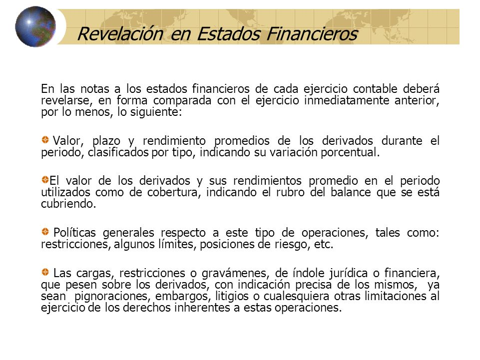Revelación en Estados Financieros