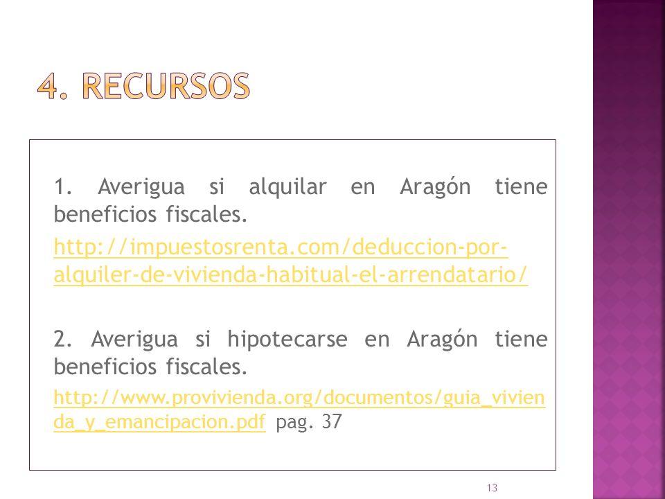 4. recursos 1. Averigua si alquilar en Aragón tiene beneficios fiscales.