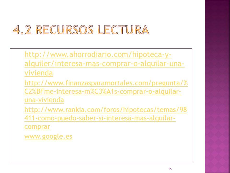 4.2 Recursos LECTURA http://www.ahorrodiario.com/hipoteca-y- alquiler/interesa-mas-comprar-o-alquilar-una- vivienda.